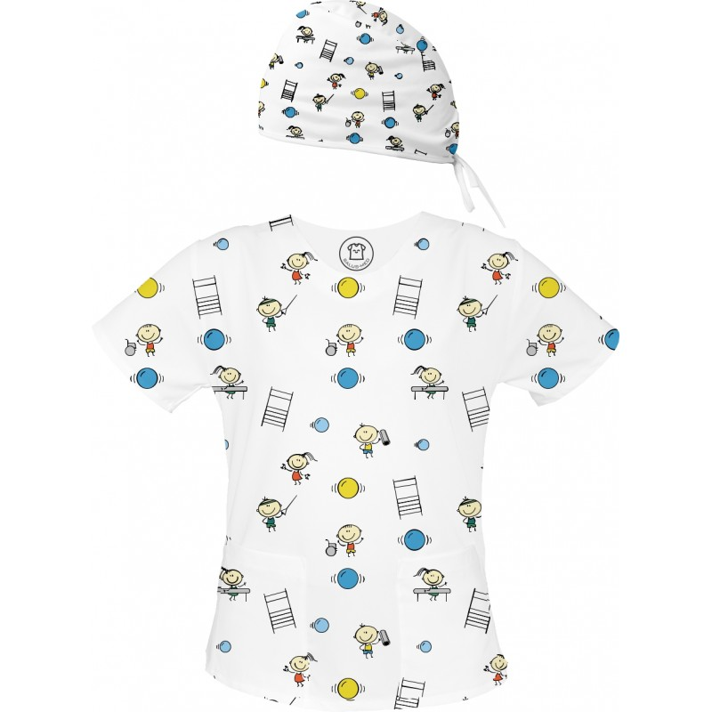 FIZJO Set bluza + czepek -Kolorowe bluzy medyczne we wzorki Fizjoterapia | SALUS-MED | Fizjoterapeuta