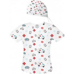 KARETKA Set bluza + czepek -Kolorowe bluzy medyczne we wzorki Ratownictwo medyczne| SALUS-MED |