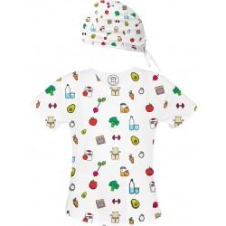 FIT Set bluza + czepek -Kolorowe bluzy medyczne we wzorki Dietetyka| SALUS-MED |