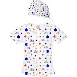 AMBULANS Set bluza + czepek -Kolorowe bluzy medyczne we wzorki RATOWNICTWO| SALUS-MED | Ratownik medyczny