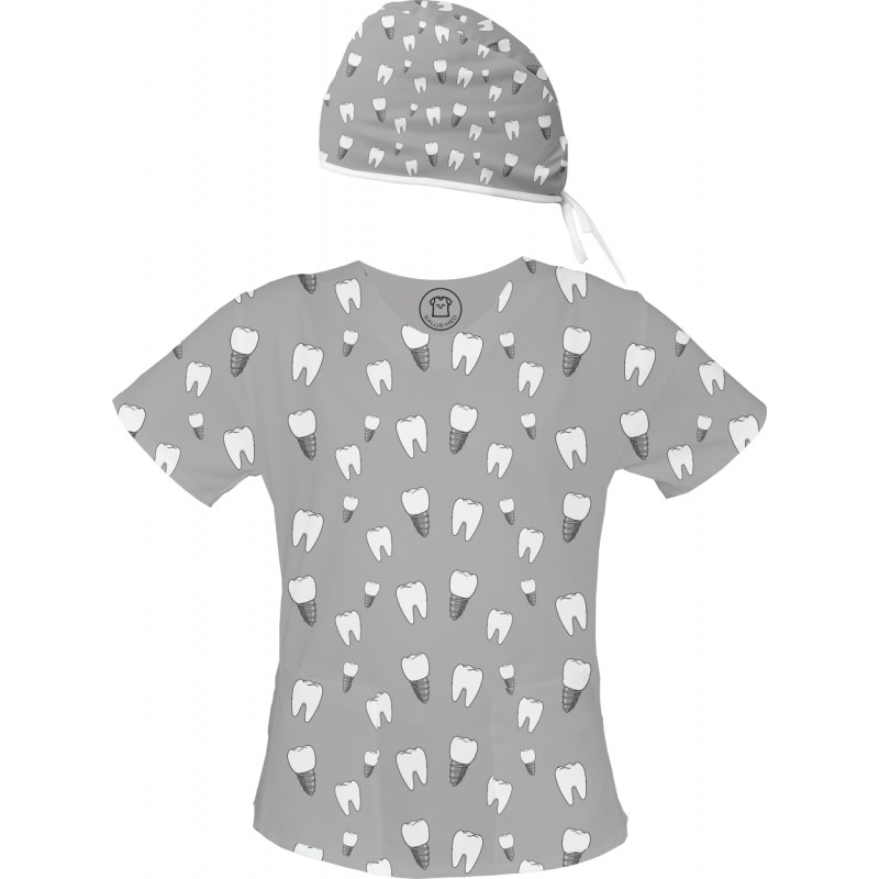 PAN IMPLANT Set bluza + czepek -Kolorowe bluzy medyczne we wzorki RATOWNICTWO| SALUS-MED |