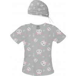Koty Set bluza + czepek -Kolorowa bluza medyczna we wzorki delfinki SALUS-MED