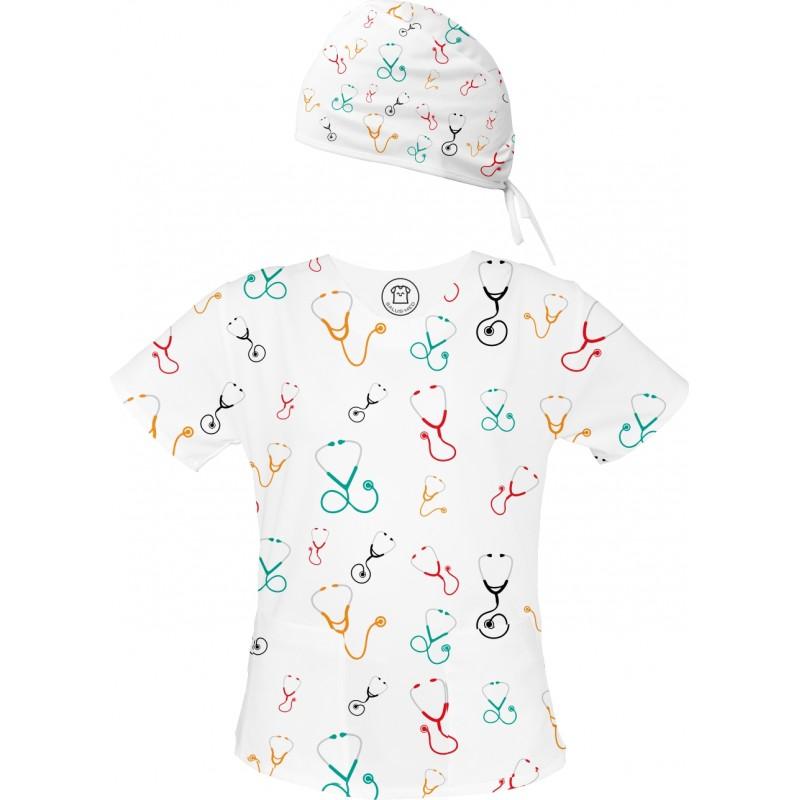 STETOSKOPY Set bluza + czepek -Kolorowe bluzy medyczne we wzorki STETOSKOPY | SALUS-MED | Ratownik medyczny