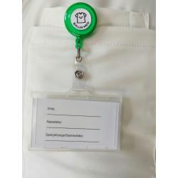 Trzymak cieny zielony - linka zwijana identyfikator -