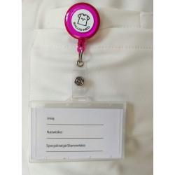 Trzymak różowy - linka zwijana identyfikator -