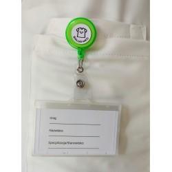 Trzymak jasny zielony- linka zwijana identyfikator -