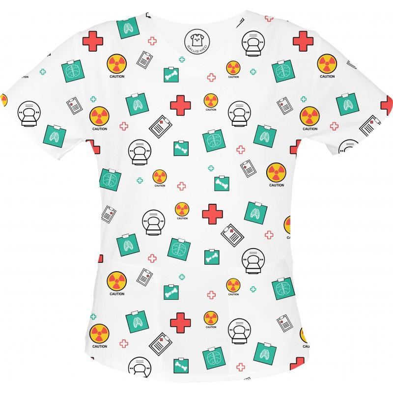 X-RAY bluza medyczna -Kolorowe bluzy medyczne we wzorki Radiologia| SALUS-MED |