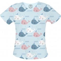 WIELORYBY bluza medyczna -Kolorowa bluza medyczna we wzorki delfinki SALUS-MED