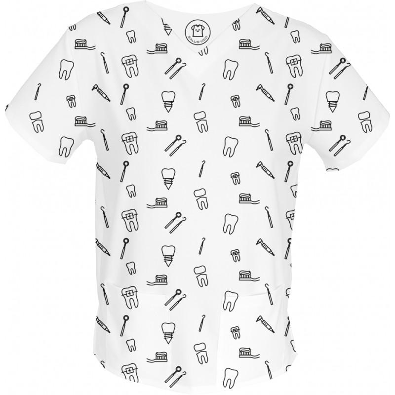 COŚ NA ZĄB bluza medyczna -Kolorowe bluzy medyczne we wzorki | SALUS-MED | Produkt Polski