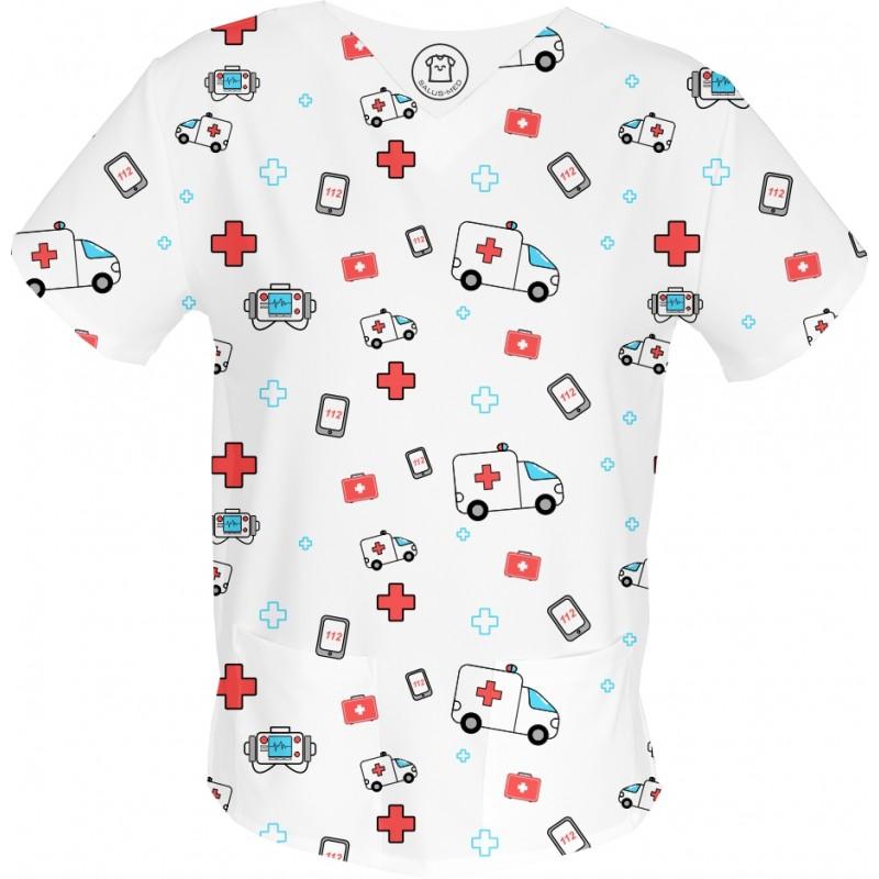 KARETKA bluza medyczna -Kolorowe bluzy medyczne we wzorki Fizjoterapia | SALUS-MED |