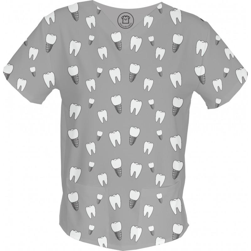 PAN IMPLLANT bluza medyczna -Kolorowe bluzy medyczne we wzorki | SALUS-MED | Produkt Polski