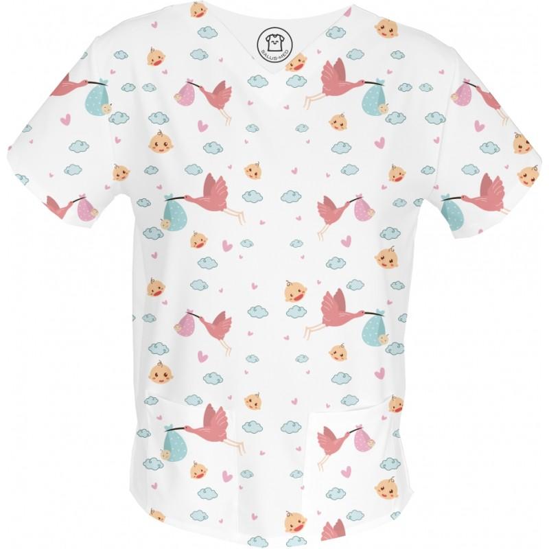 BAMBINO bluza medyczna -Kolorowe bluzy medyczne we wzorki diagnosta | SALUS-MED |