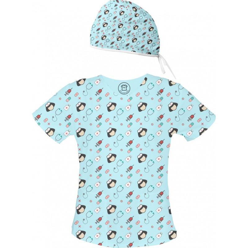 PIELĘGNIARKA Set bluza + czepek -Kolorowe bluzy medyczne we wzorki | SALUS-MED | Produkt Polski