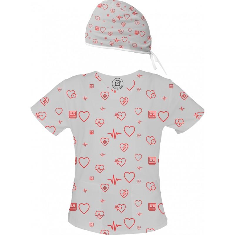 W RYTMIE CZACZY Set bluza + czepek -Kolorowe bluzy medyczna we wzorki | SALUS-MED | Kardiologia, pielęgniarstwo