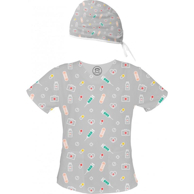 APTECZKOWY MIX Set bluza + czepek -Kolorowe bluzy medyczne we wzorki | SALUS-MED | Dla pielęgniarki lekarza