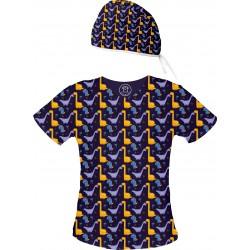 DINOZAURY Set bluza + czepek -Kolorowa bluza medyczna we wzorki delfinki SALUS-MED