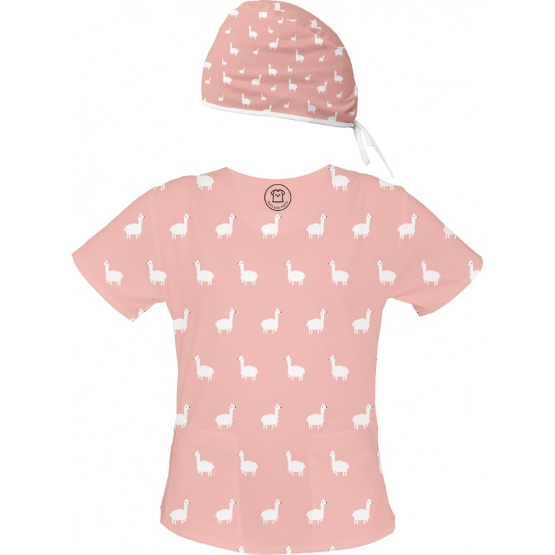 ALPAKA Set bluza + czepek -Kolorowa bluza medyczna we wzorki ALPAKA SALUS-MED