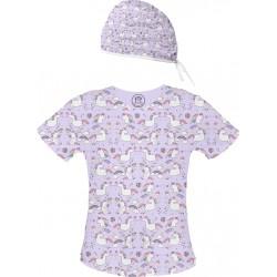 JEDNOROŻCE Set bluza + czepek -Kolorowa bluza medyczna we wzorki jednorożce SALUS-MED