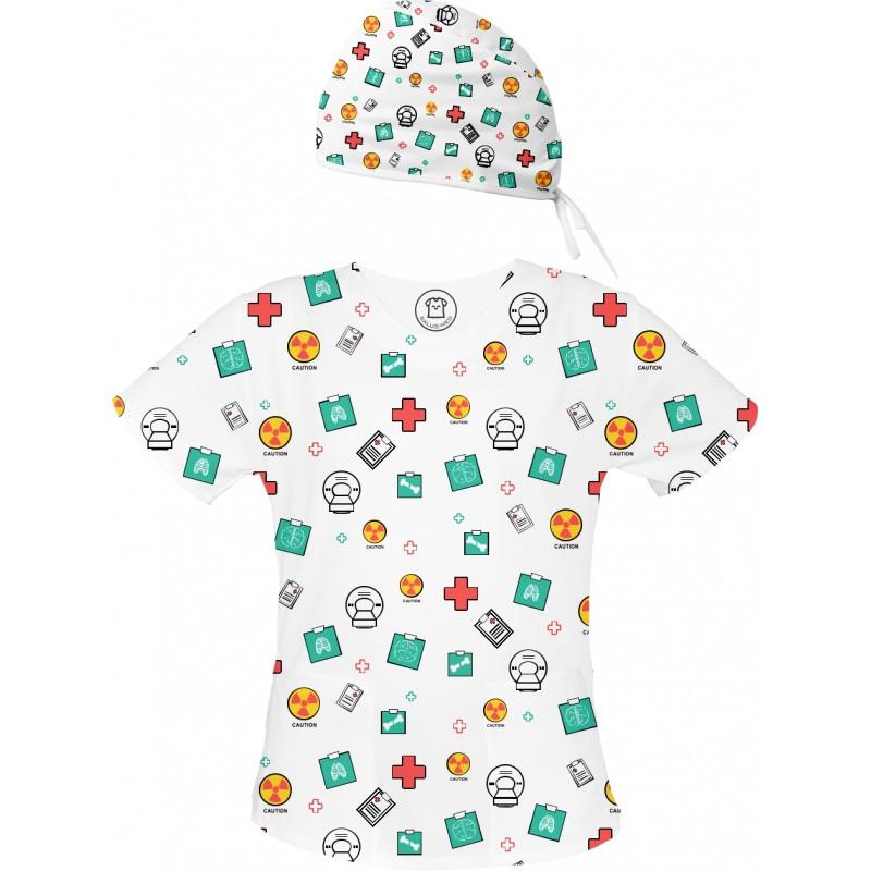 X-RAY Set bluza + czepek -Kolorowe bluzy medyczne we wzorki Radiologia, elektroradiologia, technik elektroradiolog| SALUS-MED |