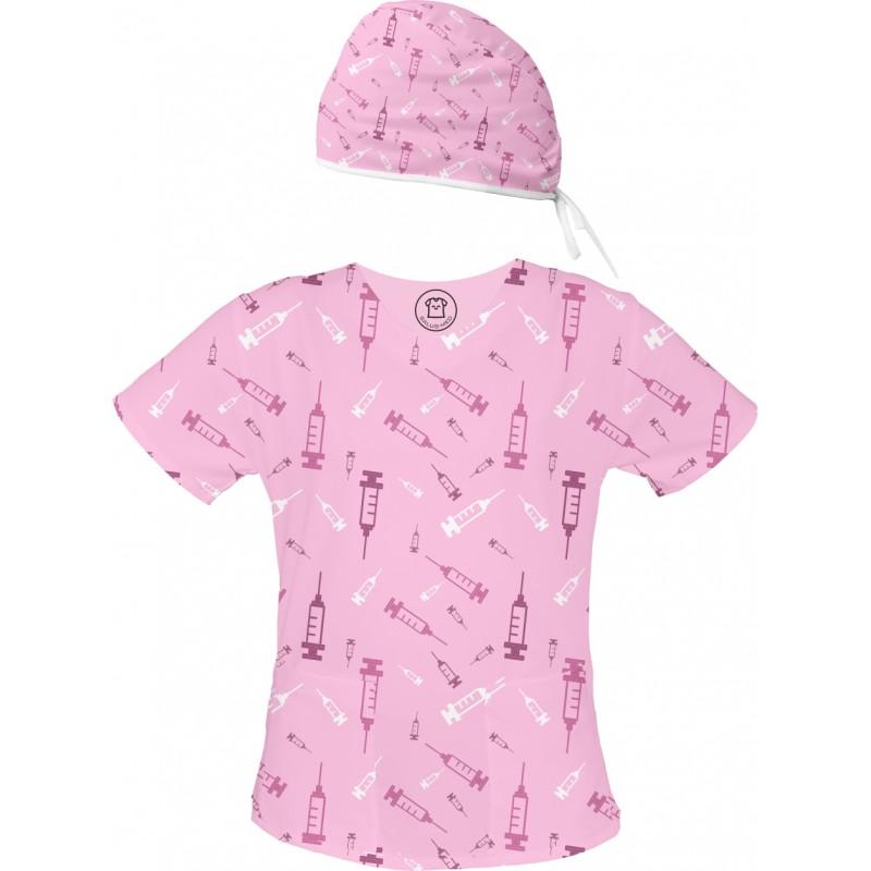 Strzykawki Set bluza + czepek -Kolorowe bluzy medyczne we wzorki | SALUS-MED | pielęgniarka, pielęgniarstwo