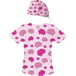Mózgi Set bluza + czepek -Kolorowe bluzy medyczne we wzorki | SALUS-MED | Mózgi
